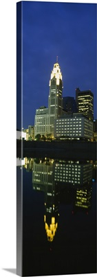 Buildings in a city lit up at night, Scioto River, Columbus, Ohio