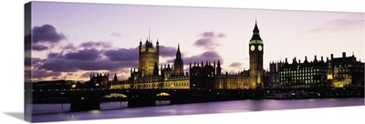 Buildings lit up at dusk, Big Ben, Houses of Parliament, Thames River, City Of Westminster, London, England