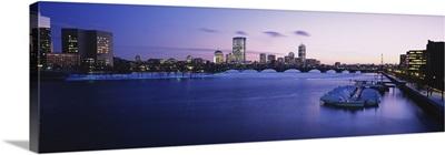 Buildings lit up at dusk, Boston, Massachusetts
