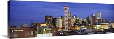 Buildings lit up at dusk, Denver, Colorado