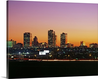Buildings lit up at dusk, Fort Worth, Texas