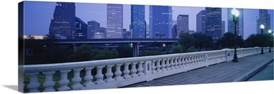 Buildings lit up at dusk, Houston, Texas