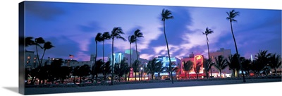 Buildings lit up at dusk, Miami, Florida