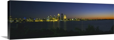 Buildings lit up at dusk, Ohio River, Louisville, Kentucky
