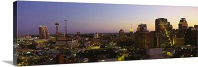 Buildings lit up at dusk San Antonio Texas