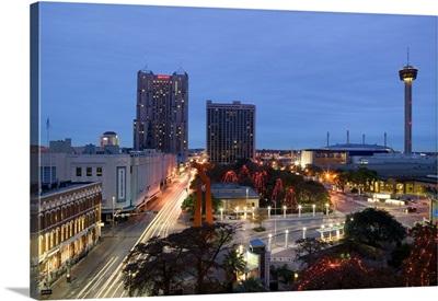 Buildings lit up at dusk, San Antonio, Texas