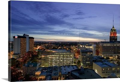Buildings lit up at dusk, Tower Life Building, San Antonio, Texas