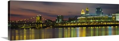 Buildings lit up at night, Cincinnati, Hamilton County, Ohio
