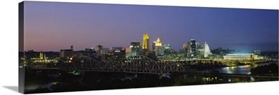 Buildings lit up at night, Cincinnati, Ohio