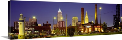 Buildings lit up at night, Cleveland, Ohio
