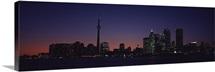 Buildings lit up at night, CN Tower, Toronto, Ontario, Canada