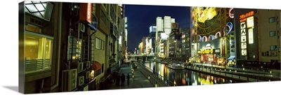 Buildings lit up at night, Dotonbori, Osaka, Osaka Prefecture, Kinki Region, Honshu, Japan