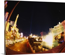 Buildings lit up at night, Las Vegas, Nevada