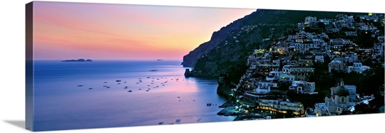 Buildings lit up at night, Positano, Amalfi, Amalfi Coast, Campania, Italy