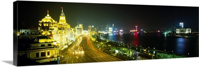 Buildings lit up at night, The Bund, Shanghai, China