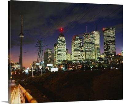 Buildings lit up at night, Toronto, Ontario, Canada