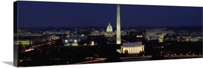 Buildings Lit Up At Night, Washington Monument, Washington DC, District Of Columbia