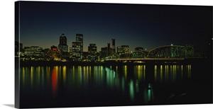 Buildings Lit Up At Night Willamette River Portland Oregon Wall Art Canvas Prints Framed