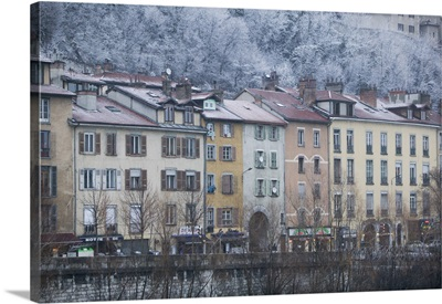 Buildings on the waterfront, Isere River, Grenoble, French Alps, France