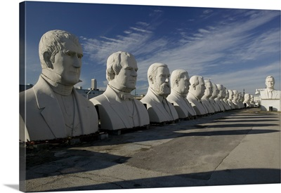 Busts of US presidents on display in a park, Houston, Texas