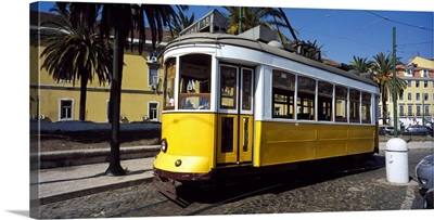Cable car in a city Lisbon Portugal