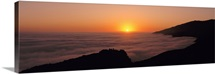 California, Big Sur, Pacific Ocean, Sunset with marine layer