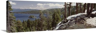 California, Lake Tahoe, Emerald Bay, High angle view of the Eagle Falls