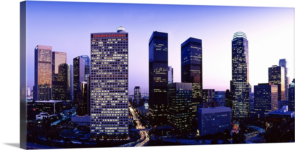 Los Angeles Photograph Los Angeles California Sunset Sunrise Canvas Wall Art Cityscape Skyline Panorama LA CA Downtown Los Angeles Dusk
