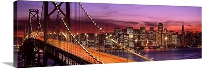 California, San Francisco, Bay Bridge illuminated at night