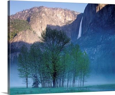 California, Yosemite National Park, Waterfall falling from the mountain