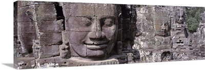 Cambodia, Angkor Thom nr Siem Reap, Giant Stone Faces, Stone carvings (Close-up)