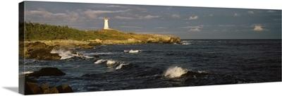 Canada, Nova Scotia, Cape Breton Island, Louisburg lighthouse during sunset