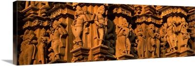 Carving details of a temple, Khajuraho Temple, Khajuraho, Chhatarpur District, Madhya Pradesh, India