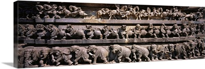 Carving on the wall of a temple, Chennakesava Temple, Belur, Karnataka, India