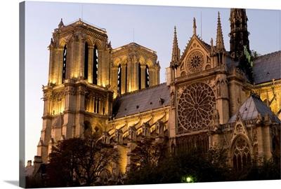 Cathedral lit up at dusk, Notre Dame, Paris, Ile-De-France, France