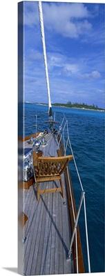 Chair on a boat deck, Exumas, Bahamas