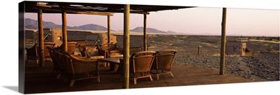 Chairs on a veranda Kulala Wilderness Reserve Sossusvlei Namib Desert Namibia