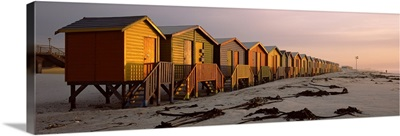 Changing room huts on the beach, Muizenberg Beach, False Bay, Cape Town, Western Cape Province, Republic of South Africa