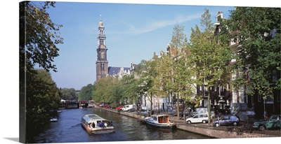 Church along a channel in Amsterdam Netherlands