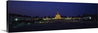 Church lit up at night, Our Lady Of Fatima, Fatima, Portugal