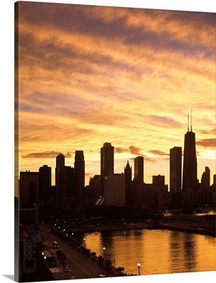 City at the waterfront, Lake Michigan, Navy Pier, Chicago, Cook County, Illinois,