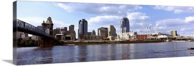 City at the waterfront, Ohio River, Cincinnati, Hamilton County, Ohio