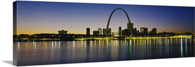 City lit up at night, Gateway Arch, Mississippi River, St. Louis, Missouri
