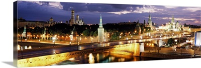 City lit up at night Red Square Kremlin Moscow Russia