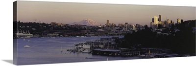 City skyline at the lakeside with Mt Rainier in the background Lake Union Seattle King County Washington State