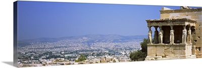 City viewed from a temple, Erechtheion, Acropolis, Athens, Greece