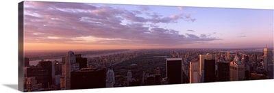 Cityscape at sunset, Central Park, East Side of Manhattan, New York City, New York State,