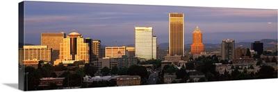 Cityscape at sunset, Portland, Multnomah County, Oregon,