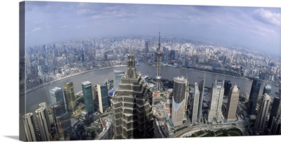 Cityscape with river viewed from Jin Mao Tower Huangpu River Pudong Shanghai China