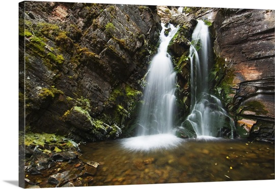 Clear water at base of Lodgepole Creek Falls, Montana